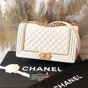 Chanel medium cream boy bag 100% authentic